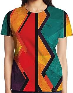 WuLion Geometric Modern Ethnic Design with Black Bold Zig Zag Borders Women's 3D Print T Shirt White