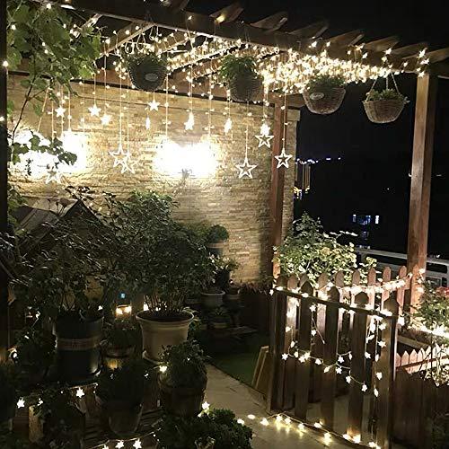YINUO LIGHT Lichtervorhang Lichterkette mit 12 LED Sterne, 138 LEDs Lichterkettenvorhang 8 Modi Dimmbar, Controller mit Speicherfunktion, IP44 Wasserfest für Party Weihnachten Schlafzimmer