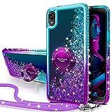 Silverback Moto E6 Case, Moving Liquid Holographic Sparkle Glitter Case with Kickstand, Bling Bumper with Ring Stand Slim Motorola Moto E6 Case for Girls Women -Purple