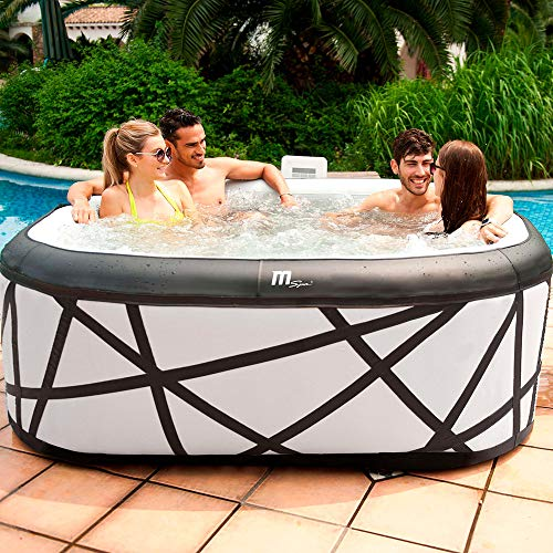 MSPA BOLD LOOKING Square Soho Bubble Inflatable Hot Tub Portable Spa Jacuzzi , 930 liters , 6 Person Hot Tub Garden Outdoor , Self-Inflated , No Need Tools 185cm x 185cm x 70cm