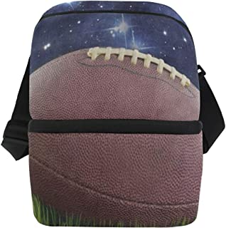 Lunch Bag American Football Green Grass Starry Field Reusable Cooler Bag Adult Leakproof Food Storage Zipper Tote Bags for Sports