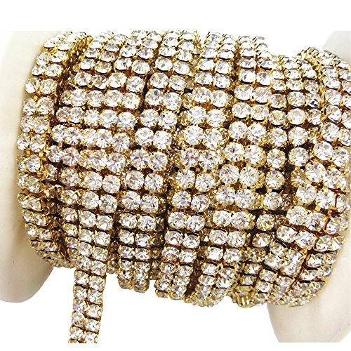 AEAOA 3 Feet 1 Yard 2 Rows Ss16 4mm Close Rhinestone Chain Trims Cup Chain Wedding Cake (Gold+Clear Crystal)