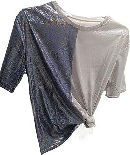GAGA Women's Leisure Tee Sparkle Crew neck Tops Short Sleeve T-Shirts