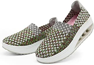 WYSBAOSHU Summer Women Woven Shoes Platform Sandals Walking Shoes(5 B(M) US,Green)