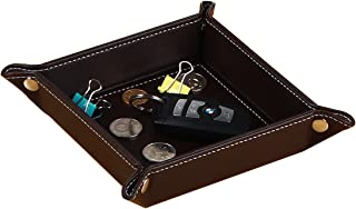 YAPISHI Key Tray for Men Leather Nightstand Organizer Beside Table Catchall Bowl Travel Valet Tray for Wallet Coin Change Candy Watch Phone, Entryway Sundries Holder Desktop Storage Box