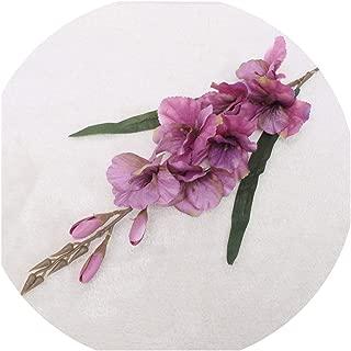 Simulation Autumn Gladiolus Orchid Artificial Flower Plant Wedding Festival Celebration Home Potted Fake Flower Decoration Deep Purple