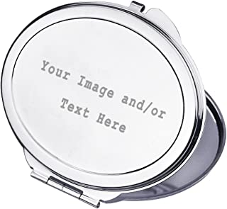 Personalized Silver Compact Mirror Customizable Mini Travel Makeup Mirror with Your Own Customized Photo and/or Text, Custom Wedding Bridsmaid Gift Christmas Gift for Girls Women, Oval