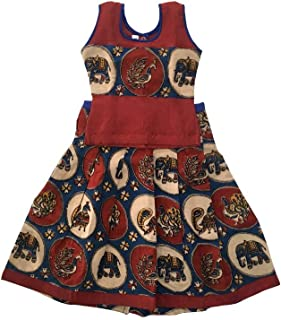 Pattu Pavadai Baby Girls/Kids Kalamkari Cotton Pavada Set (Blue and Maroon)