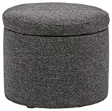 Amazon Brand – Rivet Madison Modern Round Lift-Top Storage Tray Ottoman Pouf, 19.7'W, Caviar