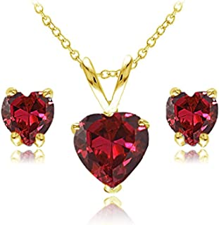 Sterling Silver Created or Simulated Gemstone Heart Solitaire Necklace and Stud Earrings Set