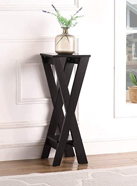 Cappuccino Finish X Design 2 Tier Plant Stand Pedestal Side End Accent Table 32 H