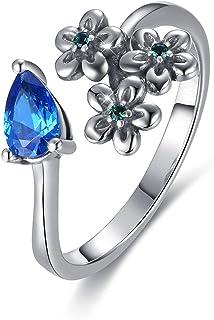 خاتم فضة للنساء من GW 925 خاتم فضة استرليني للنساء خواتم ضبط جيدة زهرة زرقاء زركونيا خاتم الخطوبة