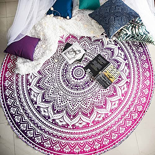 raajsee Pink Ombre Round Beach Tapestry Hippie/Boho Beach Blanket Roundie/Indian Cotton Throw Bohemian Round Table Cloth/Yoga Mat Meditation Picnic Rugs 69 inch Circle