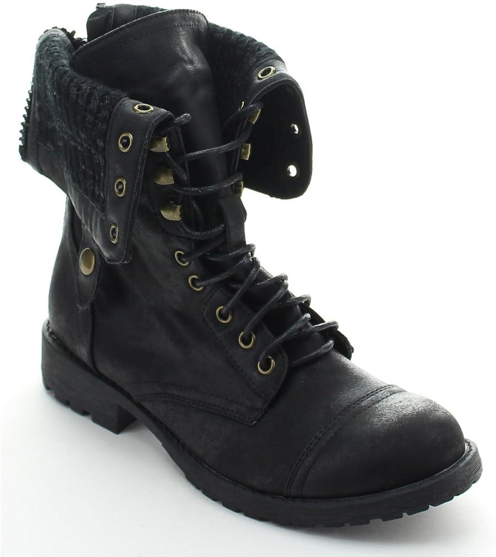Nature Breeze Galaxy-01 Women's Mid-Calf Lace Up Rear Zipper Combat Boots