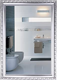 WYXIAN Mirror Rectangle Framed High-Definition Wall-Mounted Bathroom Decoration Makeup 2 Colours (Color : White, Size : 60X40CM)