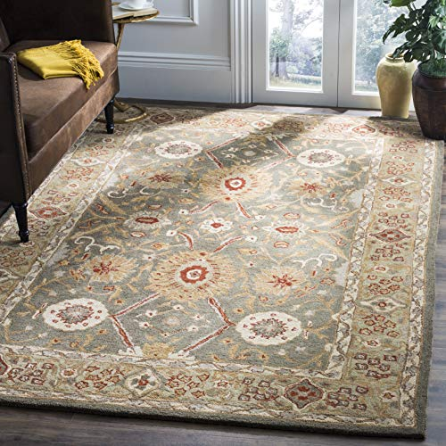 Safavieh Anatolia Collection AN516A Handmade Traditional Oriental Sage and Ivory Wool Area Rug (5' x 8')