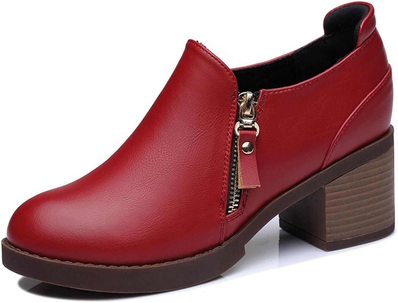 U-MAC Women shoes Pumps Round Toe Platform shoes Side Zipper Slip on Chunky Bootie