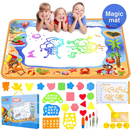 Water Aqua Doodle Drawing Mat - Mess Free Magic Toddles Large Painting Pad - Educational Coloring Writing Toys Gift for Kids Age 2+ (39.3'×27.6')