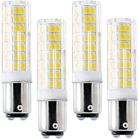 Ba15d LED Light Bulbs Double Contact Bayonet Base, 6W 120v 60W Equivalent Halogen Bulbs, Dimmable Sewing Machine Lamp 4 Pack (BA15D White 6000K)