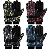 Kids Winter Ski Gloves Waterproof Windproof Snow Gloves Aged 8-13 Unisex Lining Warm Gloves for Cold Weather (Printed Style)