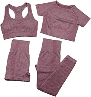 XFKLJ Sport Bra Yoga Pants Seamless Seamless Leggings+Short Sleeve Crop Top+Sports Bra+Sport Shorts 4 Pieces Yoga Set Spor...
