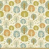 ABAKUHAUS Wald Stoff als Meterware, Bäume Herzen und