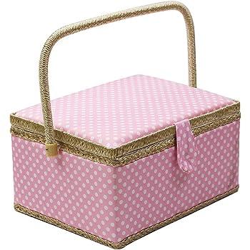 D&D Caja de costura con utensilios de costura, kit de costura organizador para el hogar y el uso diario Large rosa: Amazon.es: Hogar