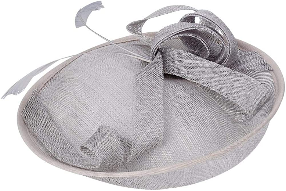 Mumusuki Elegant Bridal Wedding Hat Church Cap Women Tea Party Bridal Feather Hair Clip Ladies Day Hat Accessories Decor