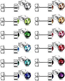 comprar comparacion HO2NLE 12 Pares Pendientes Pequeños Acero Inoxidable Mujer y Hombre Pendientes Circonita Colores 6mm Piercing para Oreja C...