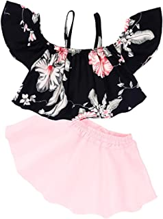 7d40047f9da8 LNGRY Kids Baby Girls Strap Off Shoulder Tops Floral Skirt Dress Outfits  Clothes