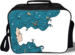 Mermaid Decor 3D Print Insulated Lunch Bag,Girl with Big Hair Hairstyle Fly Away Fairytale Sleeping Crab Imaginary Artwork Decorative,for Work/School/Picnic,