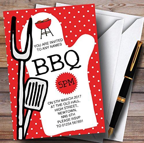 Red Spotty BBQ Grill Kinderen Verjaardag Party Uitnodigingen 200 Invitations Rood