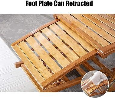 LIYFF-Recliners Wooden Rocking Chair Garden Outdoor Relaxer Lounger Adjustable Foldable Sun Reclining Chairs Massage Foot wit