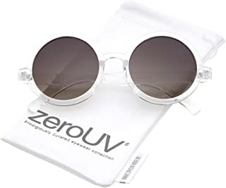 Classic Retro Horn Rimmed Neutral-Colored Lens Round Sunglasses 52mm