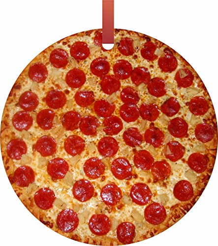 Rosie Parker Inc. Pepperoni Pizza TM - Flat Round-Shaped Holiday Tree Ornament Made in The USA