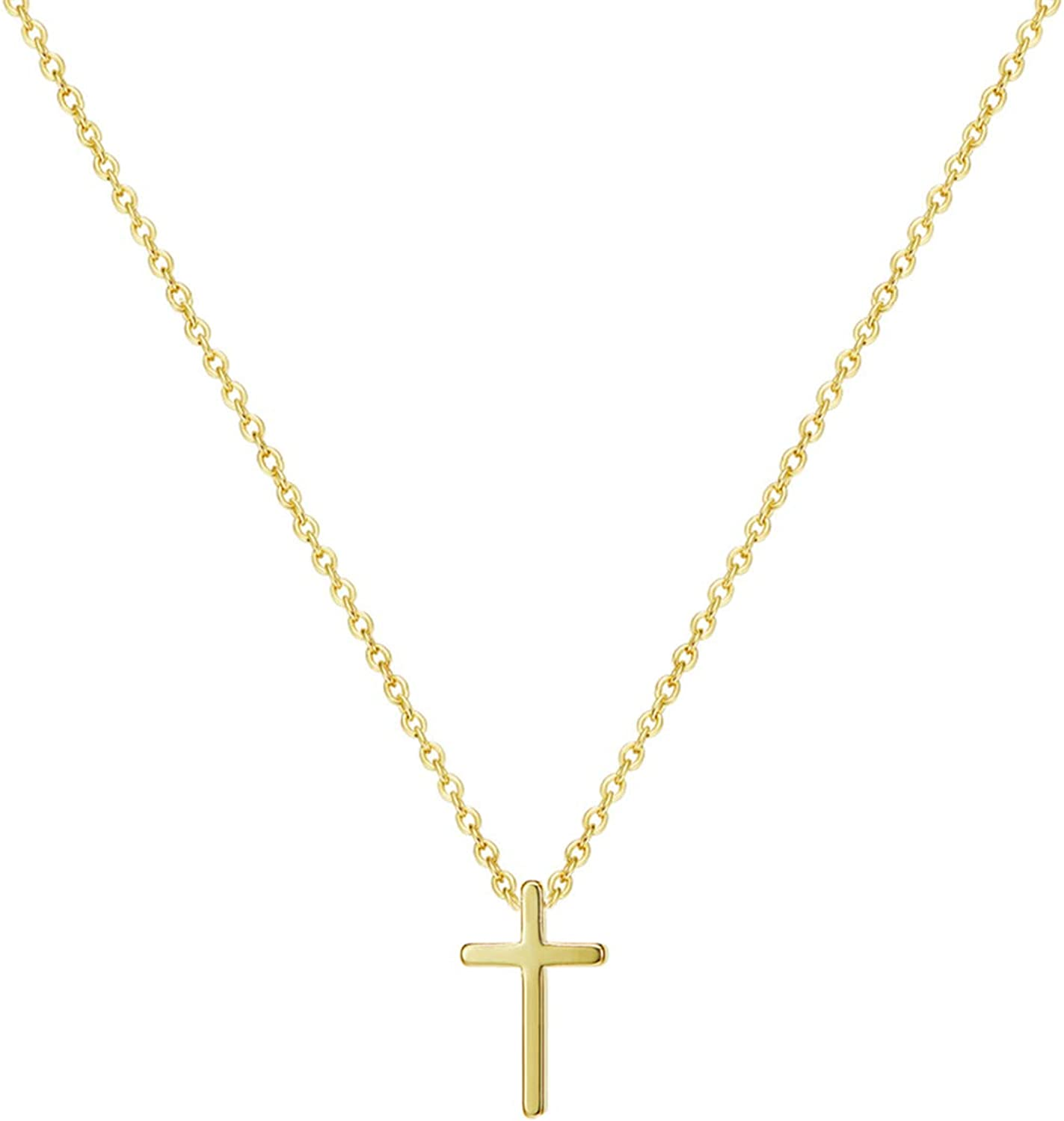 DeScount Tiny Gold Cross Pendant Necklace,18K Gold Plated Minimalist Cross Necklaces for Women