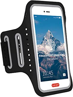 Tosports Thin Arm Bands for Cell Phone Armband Workout Running Armband, Water Resistant Phone Holder for The Gym,Excercise iPhone Case Women Men with Fingerprint Touch Access,Keys&Cards Pocket-Black