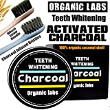 Coconut Activated Charcoal Toothpaste Teeth Whitening Powder 100% Vegan 2 Free Toothbrushes - Organic Labs