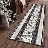 Tapiso Dream Alfombra de Pasillo Cocina Escalera Diseño Moderno Gris Crema Negro Geométrico Abstracto Fina 70 x 310 cm