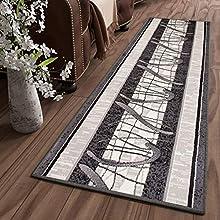 Tapiso Dream Alfombra de Pasillo Cocina Escalera Diseño Moderno Gris Crema Negro Geométrico Abstracto Fina 70 x 300 cm