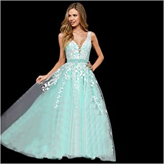 7b798e3c0d Abaowedding Women s Wedding Dress for Bride Lace Applique Evening Dress V  Neck Straps Ball Gowns