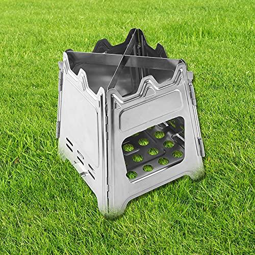 Taotuo Estufa de camping portátil ultraligera plegable de acero inoxidable con bolsillo para estufa de alcohol con bandeja de alcohol, con cuatro paredes deflectoras a prueba de viento