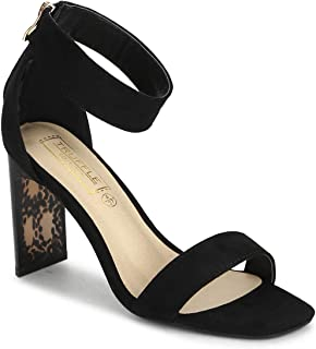 TRUFFLE COLLECTION Women's KASH1 Black Suede Fashion Sandals