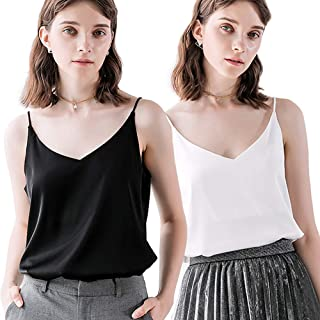 Bighand Cat Classic Womens Casual Silk Tank Top Ladies Loose Sexy V Neck Camisole Cami - XS-XXL
