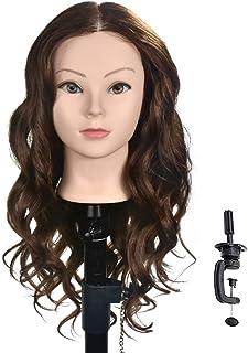 "20"" -22"" Training Head with Human Hair Mannequin Head Manikin Doll Head Hair Styling Head with Free Clamp"