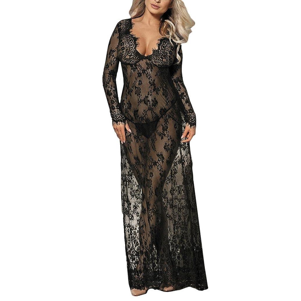 ManxiVoo Long Sleeve Long Nightgown Lingerie Lace Nightie Sleepwear Babydoll Nightdress Long Skirt