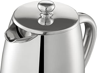 Quiseen Double Wall Stainless Steel French Press Coffee Maker, 1 Liter - 34-Ounce (8 4oz Cups)