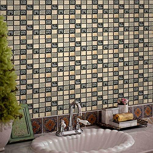 Ylight 36 Piezas Mosaico Pegatinas De Azulejos Calcomanías De Azulejos Mosaico Retro Estilo Autoadhesivo Azulejo Transferencias Pegatinas DIY para Cocina Baño Decoración del Hogar