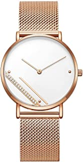 Wangyr Women's Girl Diamond Ultra-Thin 8mm Quartz Watch 36mm Stainless Steel Mesh Belt Simple Fashion Waterproof Rose Gold Black Holiday Gift Unique Fashion Classic Casual Luxury Business Dress