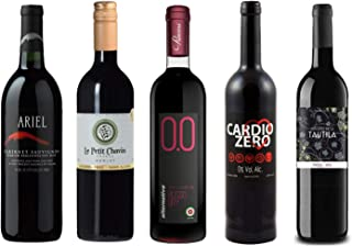 Red Wine Sampler - 5 Non-Alcoholic Wines 750ml Each - Ariel Cabernet Sauvignon, Cardio Zero Red, Rosso Dry, and Tautila Tinto